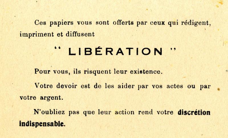 Tract inséré  dans le journal Libération par ses rédacteurs, Christian Pineau puis Jean Texcier pour donner des conseils de distribution en invitant à la prudence. (Association Libération Nord)