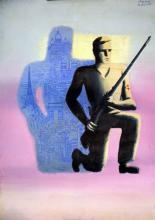 Gouache de Paul Colin (1892-1985), affichiste-maître Art Déco devenu célèbre avec la Revue Nègre,  on lui doit aussi la très belle affiche (en couleur), du début de l'insurrection le 17 août 1944; cette gouache est l'étape initiale de l'affiche réalisée pour une soirée organisée à l'initiative du Journal Libération le 11 novembre 1944 au Palais de Chaillot en hommage aux libérateurs de Paris.