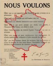 Déclaration aux mouvements de résistance signée du général de Gaulle, parue dans les journaux clandestins, réaffirmant les principes de la démocratie