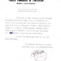 Attestation du colonel Rol-Tanguy concernant le colonel Fouré