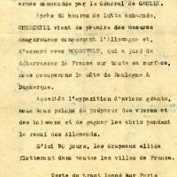 Tract lancé sur Paris le 26 septembre 1940 évoquant les mesures prises par Churchill et Roosevelt pour débarrasser la France des Allemands