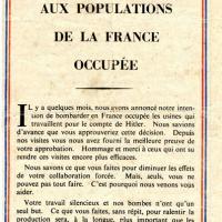 Tract allié de remerciement adressé aux résistants français